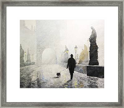 Prague Charles Bridge Morning Walk 01 Framed Print by Yuriy Shevchuk