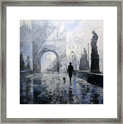 Prague Charles Bridge Morning Walk Framed Print