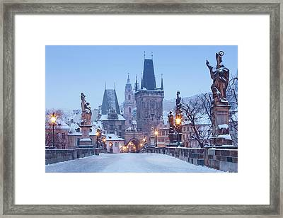 Prague - Charles Bridge Tower Nad St Framed Print by Panoramic Images