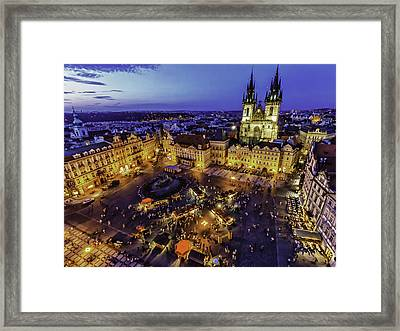 Prague Cityscape At Dusk Staromestski Namesti Framed Print by Valerii Tkachenko