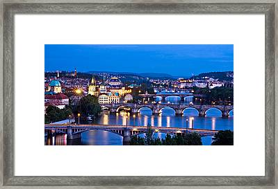 Framed Print featuring the photograph Prague Cityscape At Night by Barry O Carroll