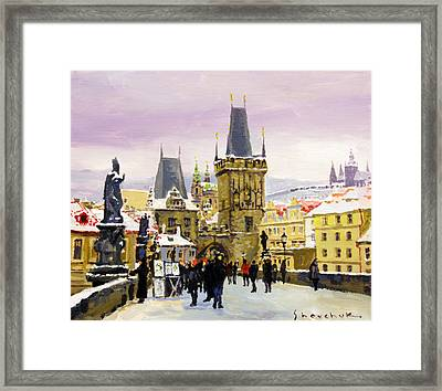 Prague Gharles Bridge Winter Framed Print by Yuriy Shevchuk