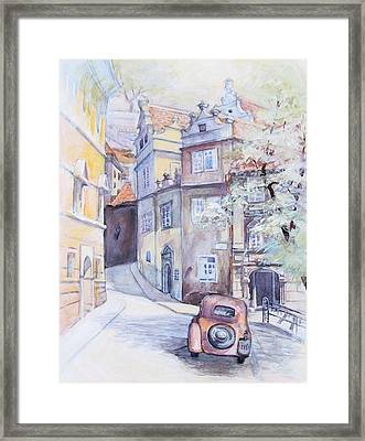 Prague Golden Well Lane Framed Print