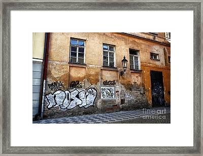 Prague Graffiti Scene Framed Print by John Rizzuto