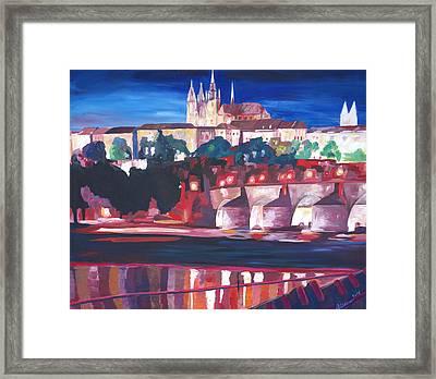 Prague - Hradschin With Charles Bridge Framed Print by M Bleichner