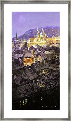 Prague Mala Strana  Night Light  Framed Print