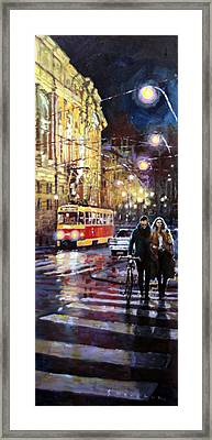 Prague Masarykovo Nabrezi Evening Walk Framed Print by Yuriy Shevchuk