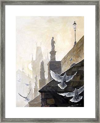 Prague Morning On The Charles Bridge  Framed Print by Yuriy Shevchuk