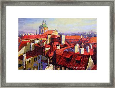 Prague Old Roofs 04 Framed Print by Yuriy Shevchuk