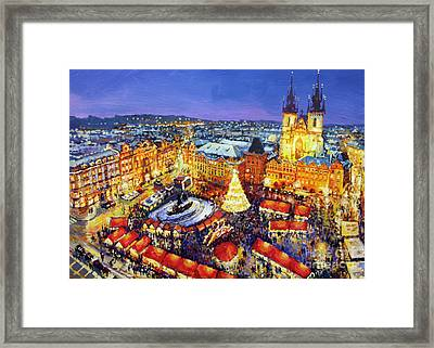 Prague Old Town Square Christmas Market 2014 Framed Print by Yuriy Shevchuk