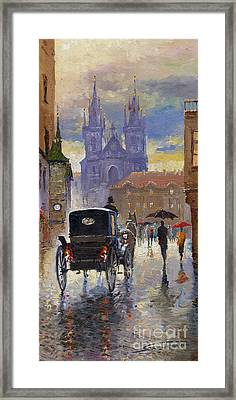 Prague Old Town Square Old Cab Framed Print