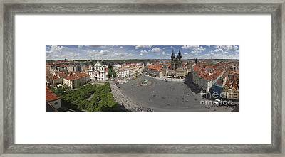 Prague Old Town Square Panorama Framed Print by Bart De Rijk
