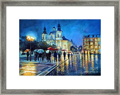 Prague Old Town Square  View Of Street Parizska And St.nicolas Church Framed Print