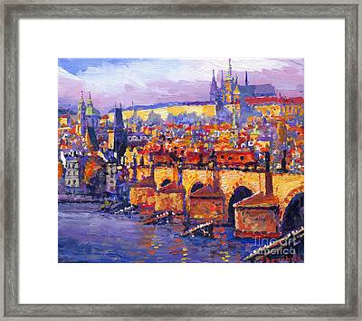Prague Panorama Charles Bridge 06 Framed Print by Yuriy Shevchuk