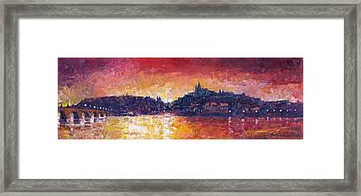 Prague Red Panorama Framed Print