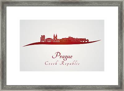Prague Skyline In Red Framed Print by Pablo Romero