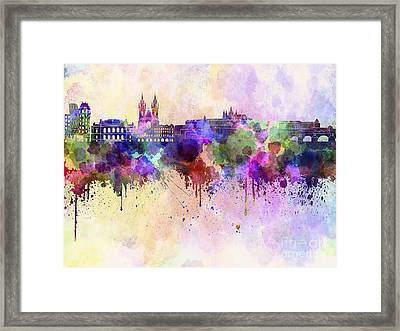 Prague Skyline In Watercolor Background Framed Print by Pablo Romero