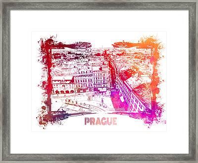 Prague Skyline Panorame Framed Print