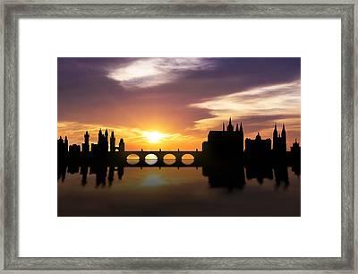 Prague Sunset Skyline  Framed Print