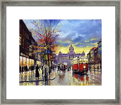 Prague Vaclav Square Old Tram Imitation By Cortez Framed Print by Yuriy  Shevchuk