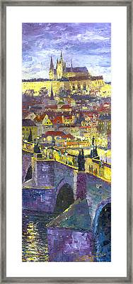 Prague Violet Panorama Night Light Charles Bridge Framed Print by Yuriy Shevchuk