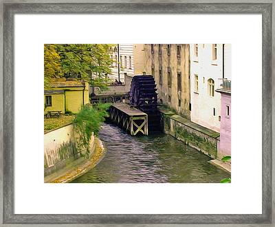 Prague Water Wheel Painting Framed Print