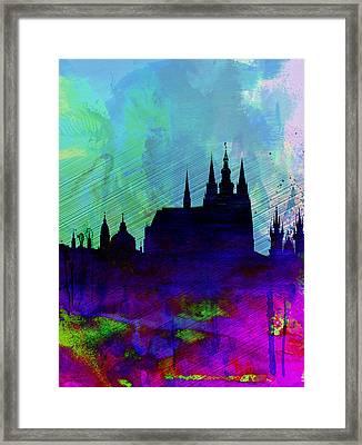 Prague Watercolor Skyline Framed Print