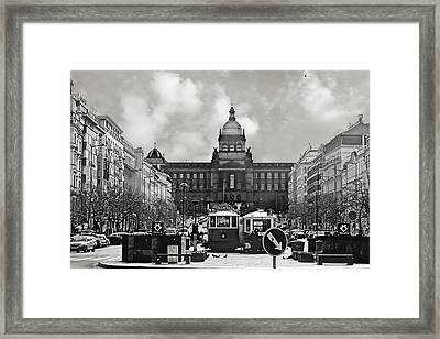 Prague Wenceslas Square And National Museum Framed Print