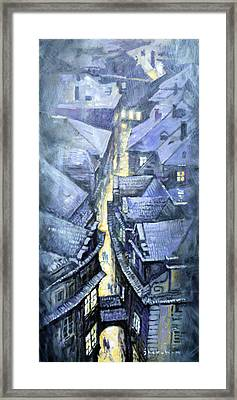 Prague Winter Melantrihova Str Framed Print by Yuriy Shevchuk