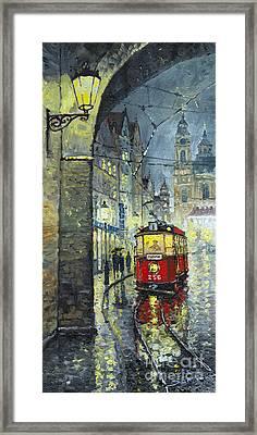 Praha Red Tram Mostecka Str  Framed Print by Yuriy  Shevchuk