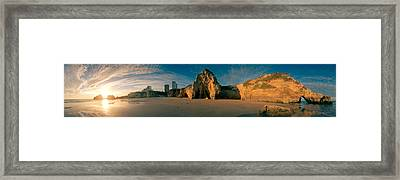 Praia Da Rocha At Sunset, Portimao Framed Print by Panoramic Images