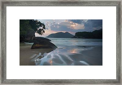 Praia Do Camburi At Sunset In Ubatuba Framed Print by Alex Saberi