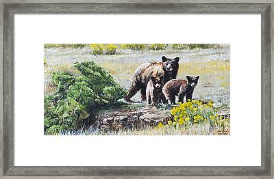 Framed Print featuring the painting Prairie Black Bears by Aaron Spong