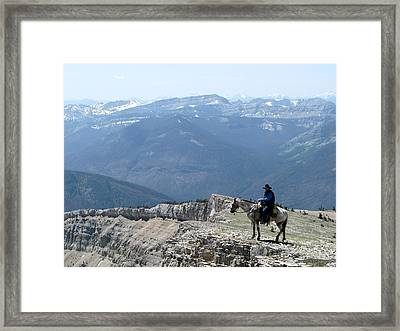 Prairie Reef View With Horse And Rider Framed Print