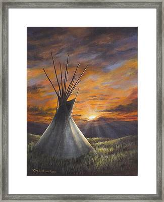 Framed Print featuring the painting Prairie Sunset by Kim Lockman