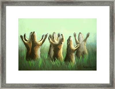 Praising Prairie Dogs Framed Print by Anthony Falbo