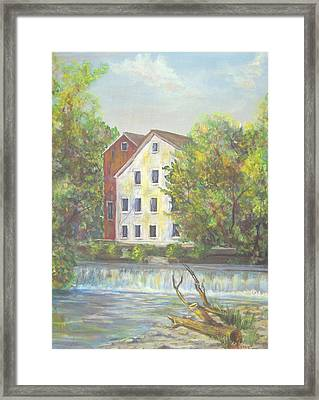 Prallsville Mill From Waterfall Framed Print