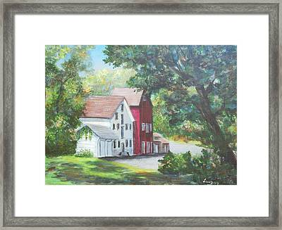 Framed Print featuring the painting Prallsville Mill  by Luczay
