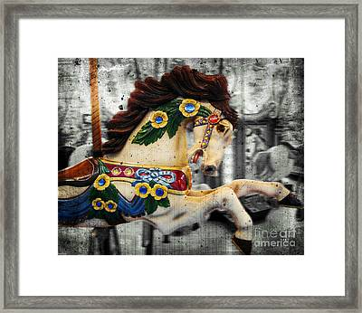 Carousel - Prancer Framed Print by Colleen Kammerer