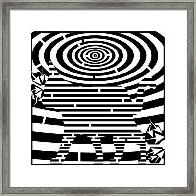 Prancing Kitty Cat Maze Framed Print by Yonatan Frimer Maze Artist