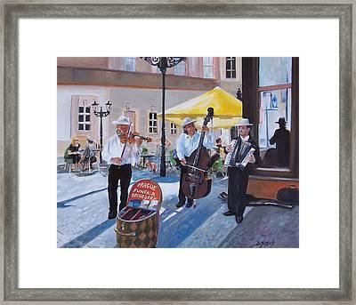 Praque Street Musicians Framed Print by Donna Munsch