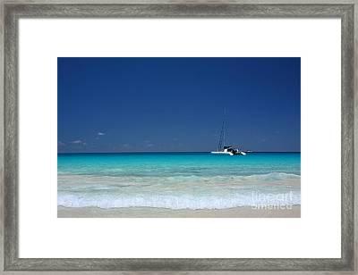 Praslin Island Catamaran Framed Print by Kate McKenna