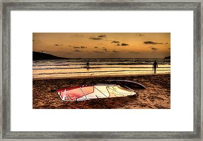 Framed Print featuring the photograph Prasonisi - A Day Of Windsurfing Is Over by Julis Simo