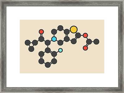 Prasugrel Platelet Inhibitor Molecule Framed Print by Molekuul