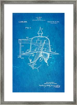 Pratt Weapon Hat Patent Art 1916 Blueprint Framed Print