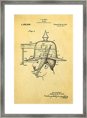 Pratt Weapon Hat Patent Art 1916 Framed Print