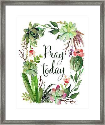 Pray Today Wreath Framed Print