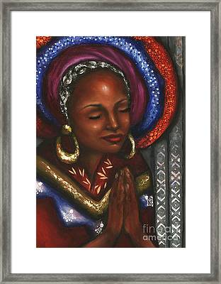 Framed Print featuring the pastel Pray With Me by Alga Washington
