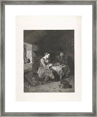 Prayer Before Meals, Bega Friedrich Wilhelm Burmeister Framed Print