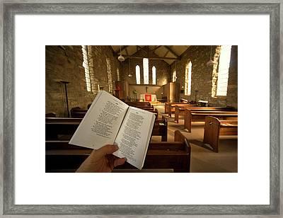 Prayer Book In Church, Rosedale, North Framed Print